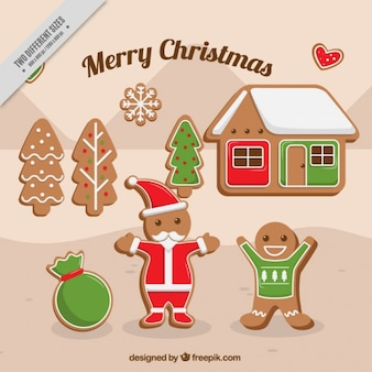 Background of santa claus and gingerbread cookies
