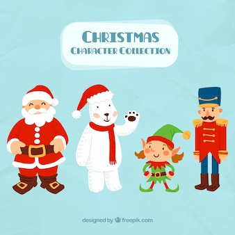 Background of santa claus with lovable characters