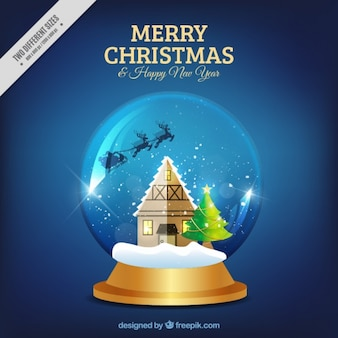 Background of shiny snowglobe with hut and santa claus