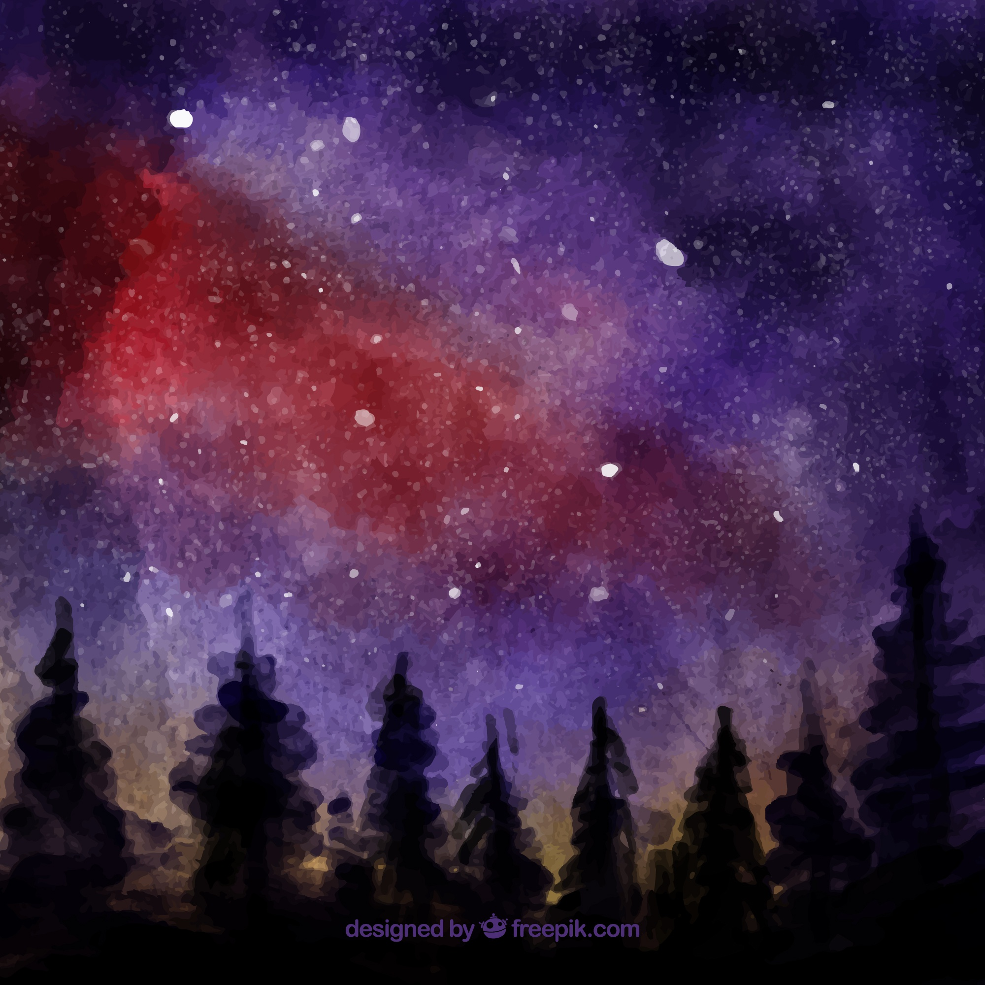 Background of silhouettes of trees with watercolor sky with stars