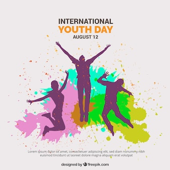 Background of silhouettes with watercolor stains of the youth day