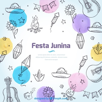 Background of sketches of junina party elements and colorful circles