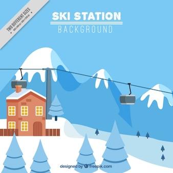 Background of ski resort with snowy landscape