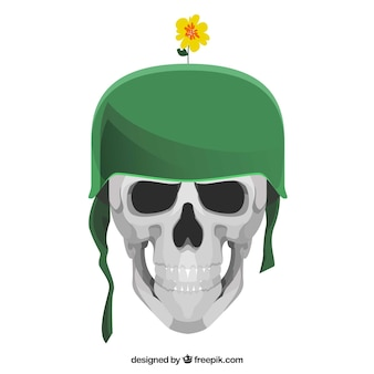 Background of skull with green helmet and decorative flower