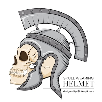 Background of skull with soldier helmet