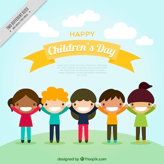 Background of smiling children in flat design