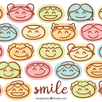 Background of smiling faces drawings