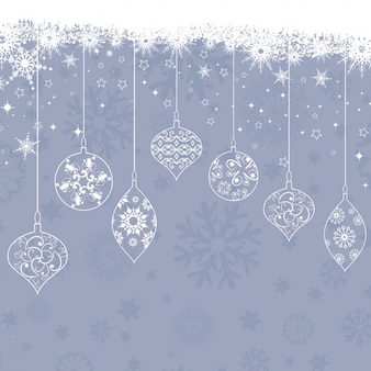 Background of snowflakes and vintage christmas balls