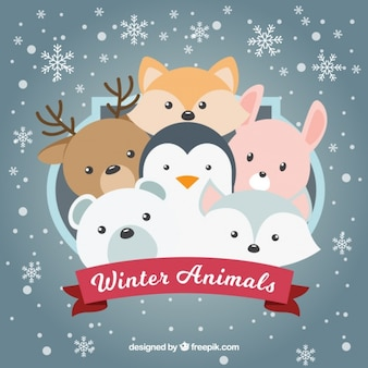 Background of snowflakes with nice animals