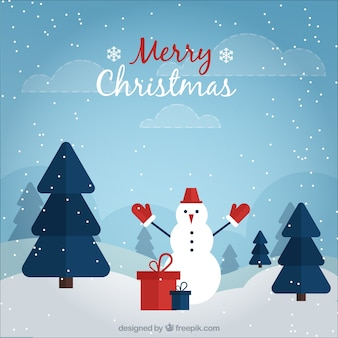 Background of snowy landscape with snowman and gifts