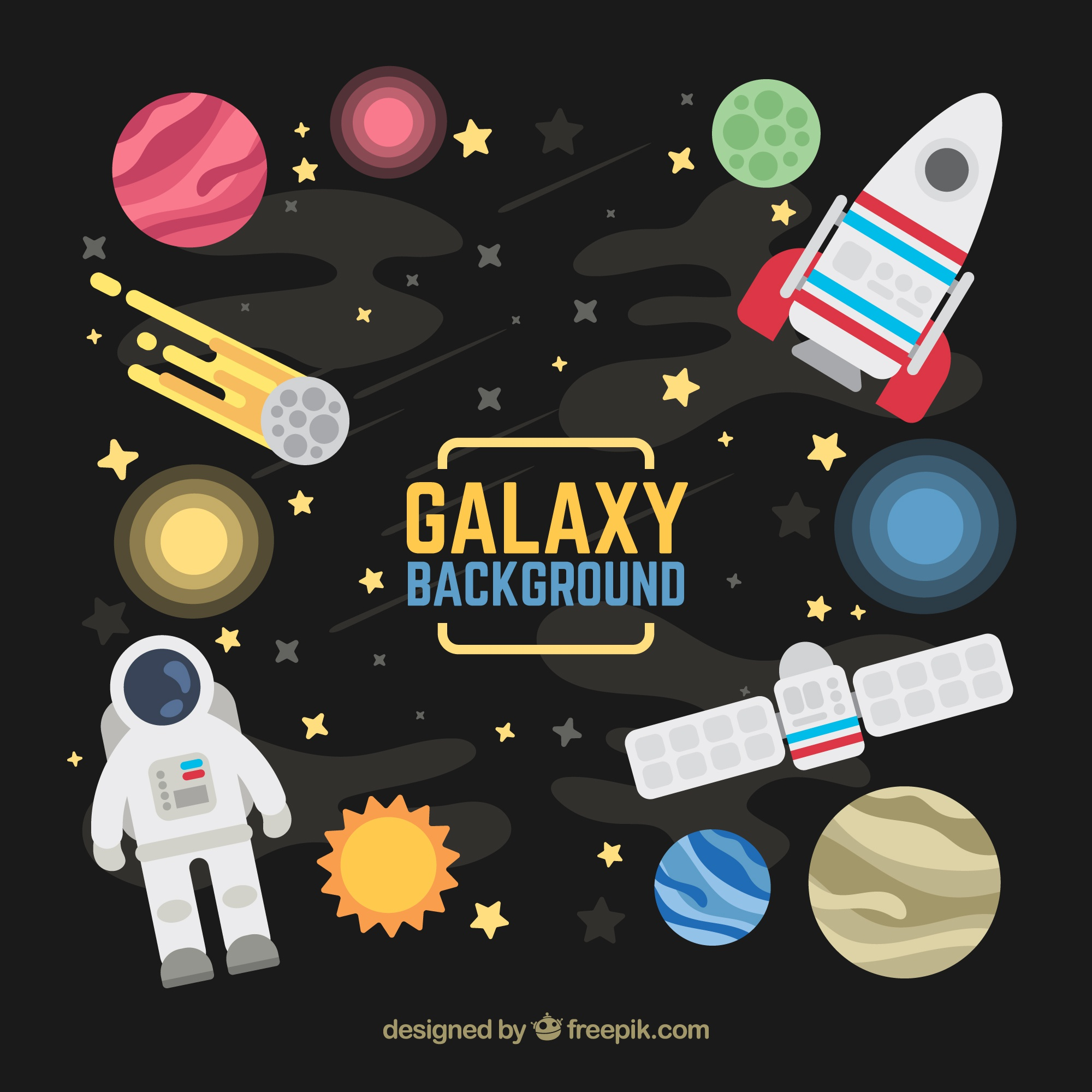 Background of space elements in flat design