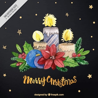 Background of stars with candles and watercolor christmas flowers