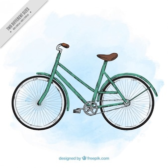 Background of stylish hand drawn watercolor vintage bicycle