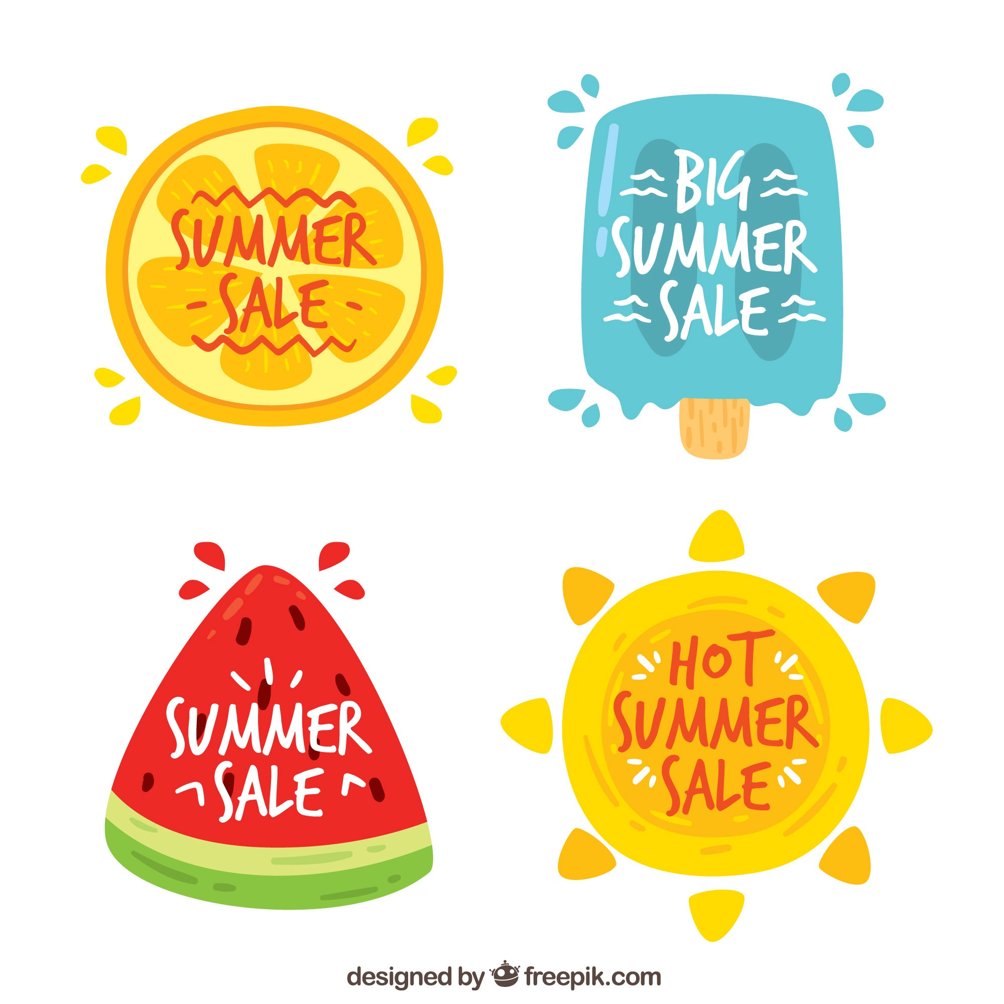 Background of summer stickers with watermelon and ice cream