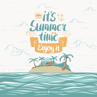 Background of summer time with island