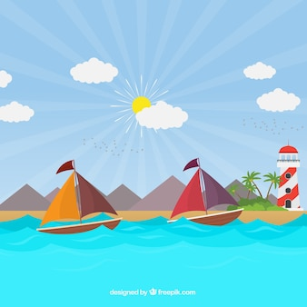 Background of sunny day with boats and lighthouse