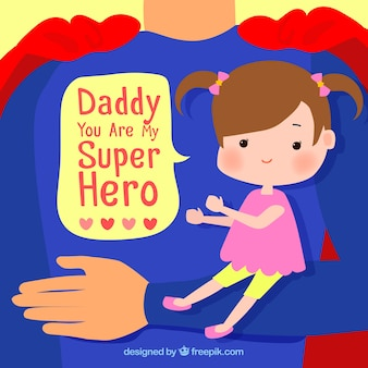 Background of super dad with his little daughter