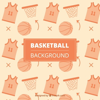 Background of t-shirts with ball and basket of basketball
