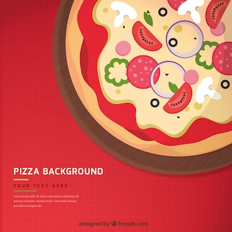 Background of tasty pizza with ingredients