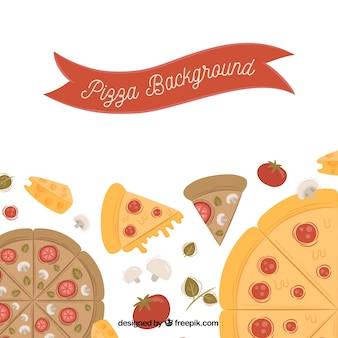Background of tasty pizzas