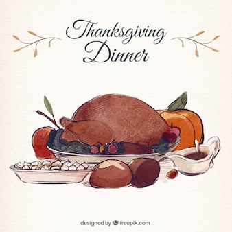 Background of tasty thanksgiving dinner in watercolor effect
