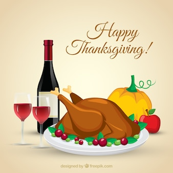 Background of tasty thanksgiving dinner with wine bottle