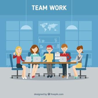 Background of team work in flat design