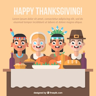 Background of thanksgiving dinner in flat design