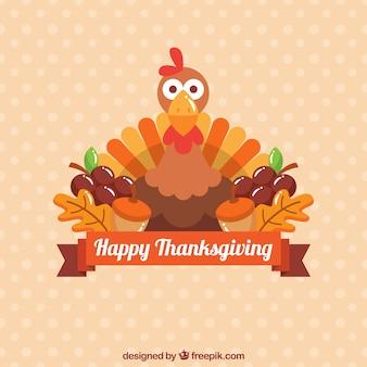 Background of thanksgiving turkey in flat design