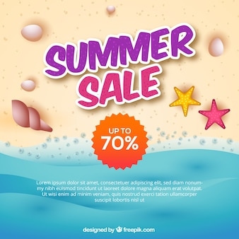 Background of the sea with summer sales