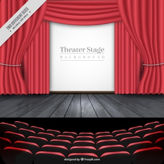 Background of theater stage in realistic style