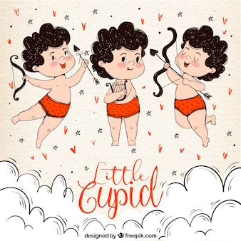 Background of three hand drawn cupid characters