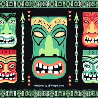 Background of tiki masks and arrows