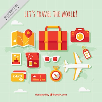 Background of travel elements and plane in flat design