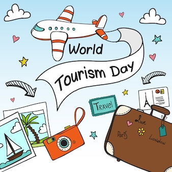 Background of travel items for tourism day