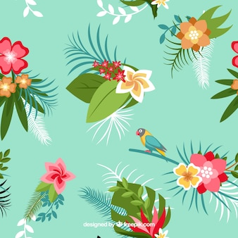 Background of tropical flowers and parrot