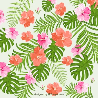 Background of tropical flowers and watercolor leaves