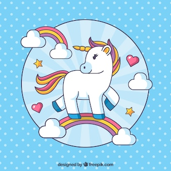 Background of unicorn polka dots with rainbows in linear style