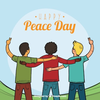 Background of united friends celebrating the day of peace