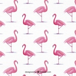 Background of watercolor flamingos