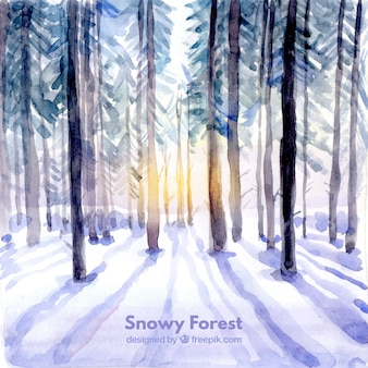 Background of watercolor forest with snow