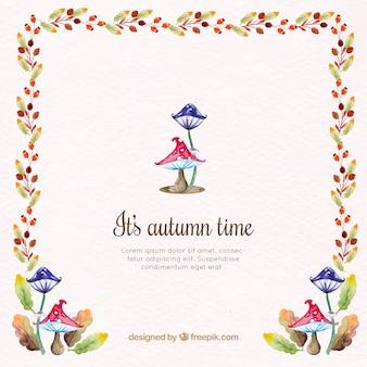 Background of watercolor mushrooms and autumn flowers