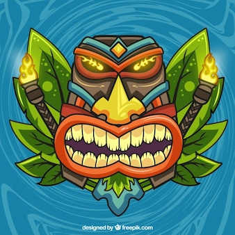 Background of wild tiky mask with torches
