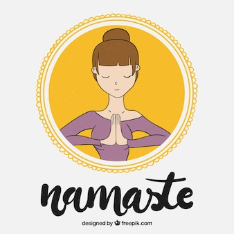 Background of woman doing namaste greeting