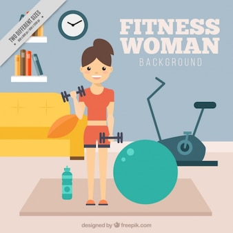 Background of woman exercising at home