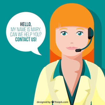 Background of woman in callcenter