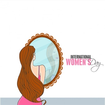 Background of woman looking at herself in a mirror