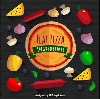 Background of wooden table with pizza and ingredients