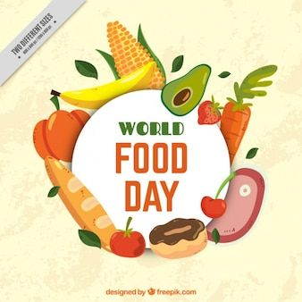 Background of world food day with delicious food