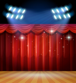 Background scene with light and red curtains on stage